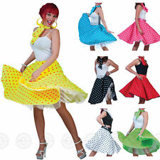 ADULT ROCK AND ROLL SKIRT & SCARF FANCY DRESS 50S GREASE LADIES POLKA DOT OUTFIT