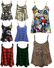 WOMENS LADIES PLUS SIZE PRINTED SWING VEST STRAPPY SLEEVELESS FLARED CAMI TOPS
