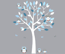 Tree with Owls Wall Decal, Boys Room Tree with Owl Stickers, Nursery Owls Mural