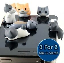 Cute Cat & Kitten Universal Dust Plug Cap Mobile Phone Tablet Charm Case