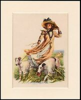 BORZOI LADY AND DOG LOVELY DOG ART PRINT MOUNTED READY TO FRAME