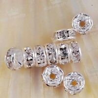 10PC 4mm Silver Plated Crystal Glass Rondelle Finding Spacer Beads