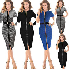 Womens Belted Front Zipper Tartan Business Casual Party Tunic Pencil Dress 395