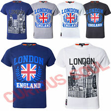 Mens London City View Union Jack Big Ben Print Short Sleeve Casual TShirt Top