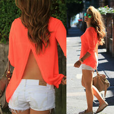 Womens Sexy Summer Loose Casual Chiffon Backless T Shirt Blouse Tops