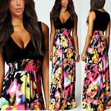 PLUS SIZE Women Long Maxi Summer Beach Party Evening Casual V-NECK Dress S-3XL