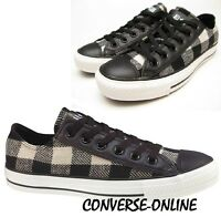 Womens CONVERSE All Star PLAID WOOL OX BLACK WHITE CHECK Trainers Shoe UK SIZE 9