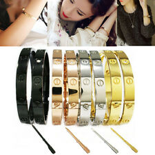 Stainless Steel Love Screwdriver Cuff Bangle Screw Head Lover Bracelet Women Men