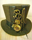 Steampunk madhatter Handmade tweed Tophat with compass and key
