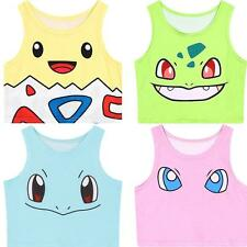2015 Summer New Cute 3D Pokemon Slim Sleeveless Vest Cartoon Tank Top T Shirt