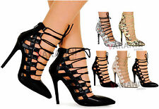 NEW LADIES HIGH STILETTO HEEL CUT OUT ANKLE STRAP GLADIATOR PARTY SANDALS 3-8