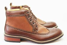 New Men's Brown Ferro Aldo High Top Boots Wing Tip Brogue Leather Lace Up NEW