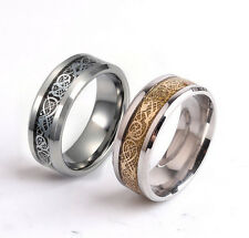 8MM Gold Celtic Dragon Tungsten Carbide Ring Men Jewelry Wedding Band SZ 6-12