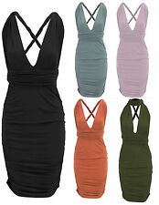New Women Ladies Celeb Style Multi Way Tie Back Bodycon Midi Dress 6 Ways
