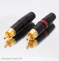 12 NEUTRIK GOLD PHONO RCA PLUGS NYS373 Red/Black Professional Connectors REAN