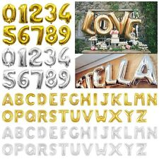 """16/40""""Gold/Silver Large Foil Letter Number Balloons Birthday Wedding Party Decor"""
