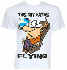 MENS FUNNY NOVELTY AFRAID OF FLYING FEAR T-SHIRT JOKE PLANE HOLIDAY TRAVEL GIFT