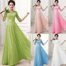 Women Long Chiffon Formal Evening Party Ball Gown Prom Bridesmaid Wedding Dress