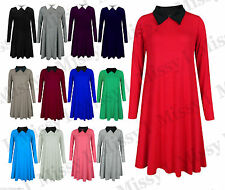 Womens Peter Pan Collar Long Sleeve A Line Skater Flared Swing Dress 8-22 Plus
