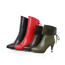 Womens Ladies Lace up Folded High Heel Mid Calf Boots Shoes UK Size 1--12 B109
