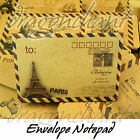 Novelty Notepad Vintage Style Envelope Memo Note Message Pad London Paris UK