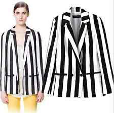 2015 Fashion Bloggers Women black&white Stripe Print Blazer Jacket Suits Coat