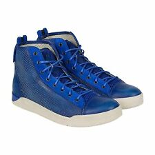Diesel Diamond Mens Blue Leather High Top Lace Up Sneakers Shoes