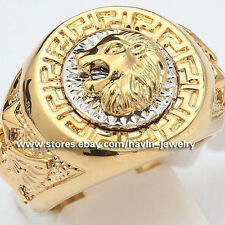 Vintage Men's Big Ring Cool Lion Rings Head Eagle 18K Yellow Gold Plated SZ 8-12