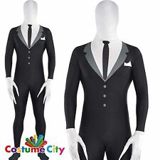 Adulti Da Uomo Slenderman Costume Halloween SLENDER MAN Fancy Dress Party Suit