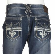 Xtreme Couture AFFLICTION Mens Denim Jeans GEO FLAP Embroidered BKE 30-40 $79
