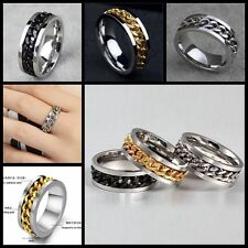 Fashion Men Silver Gold Curb Chain Center Stainless Steel Band Ring 8mm Size8-12