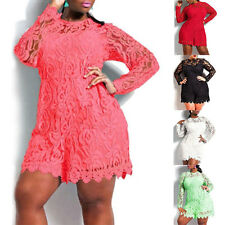 Women Lady Lace Long Sleeve Plus Size Cocktail Evening Party Mini Dress