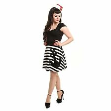 Rockabella Ivy Dress Ladies Black White Goth Emo Punk