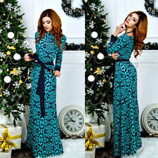 Women Ladies Floral Printed Long Sleeve Xmas Party Evening Cocktail Maxi Dress