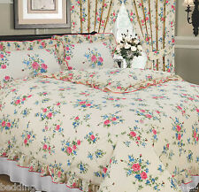 LIZ CREAM FLORAL FRILLED BLUE PINK GREEN FLOWERS TRADITIONAL BEDDING OR CURTAINS
