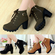 New Women platform high heel single shoes vintage Boots Martin Boots size 5-9