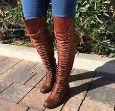 BROWN THIGH HIGH OVER KNEE LACE UP COMBAT HOT FASHION CELEBRITY BOOTS NEW
