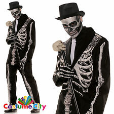 Adulti Da Uomo OSSO Daddy Scheletro Tuta Halloween Fancy Dress Party Costume