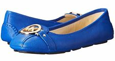 MICHAEL MICHAEL KORS FULTON ELECTRIC BLUE SAFFIANO FLAT SHOES