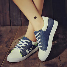 Womens Fashion Lace Up Walking Running Casual Sports Skate Shoes Canvas Sneakers