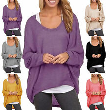 Femmes TAILLE PLUS manches longues Pull Baggy Tops Jumper Blouse cardigans