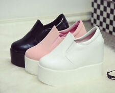 New Womens Wedge Hidden Heel Platform Synthetic Creeper Ladies Casual Shoes Size