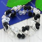 1X Clear Black Faceted Crystal Glass Bead Stretchy Bracelet Bangle Cuff