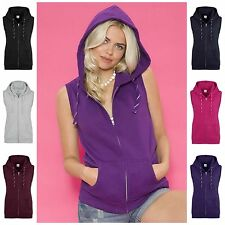 Womens Sleeveless Hoodie Gym Top Sweat Shirt Fleece Hood Fitness Exercise 6 - 16