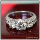 2.15 CT MOISSANITE ROUND ENGAGEMENT PAVE LUCERN 3 STONE ANTIQUE VINTAGE RING
