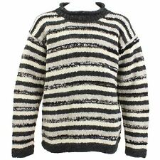 Wool Jumper Sweater Crew Neck Roll Striped Knit LOUDelephant Unisex GREY CREAM