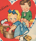 Vintage Childs Valentines Day Card Boy Sitting on Bench Girl w/basket of Hearts