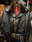Vintage 1950-60's Black Leather Biker Jacket w. brass fittings, talon zips Sz 44