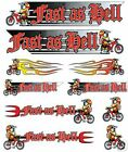 BMX BOYS BIKE BICYCLE STICKERS DECALS TRANSFERS - SET OF 10 - FAST AS HELL