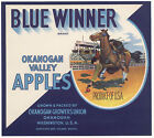 *Original* BLUE WINNER Horse Cowboy Rodeo OKANOGAN Apple Crate Label NOT A COPY!